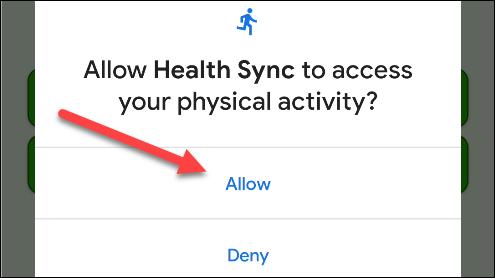 """Robinet """"Autoriser"""" pour donner l'accès à Health Sync."""