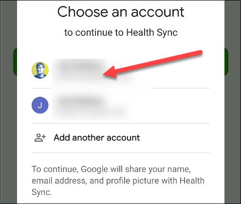 Appuyez sur le compte Google que vous utilisez avec Google Fit.