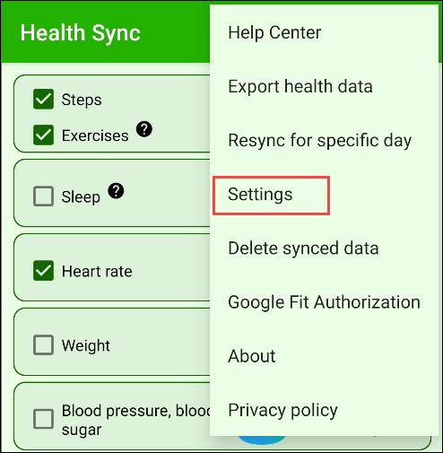 """Robinet """"Réglages"""" dans l'application Health Sync."""