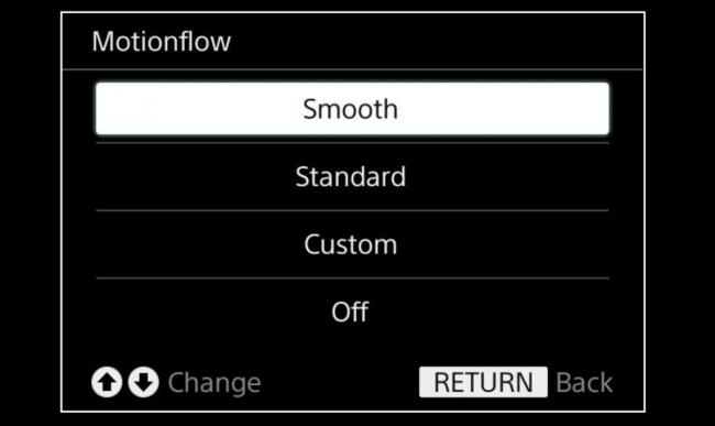 Options Motionflow sur un téléviseur Sony