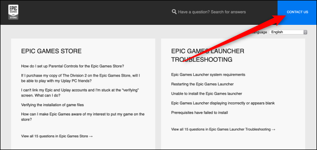 Page d'aide Epic Games Store