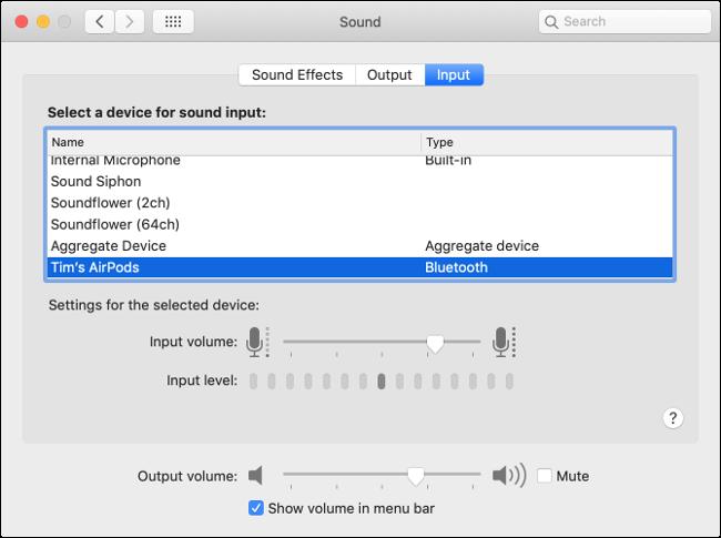 Préférences d'entrée audio macOS