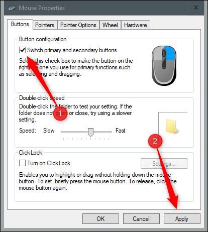 Option de permutation des boutons principaux et secondaires