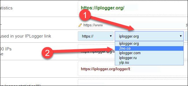 Liste déroulante du domaine de l'enregistreur IP, avec une flèche pointant vers 2no.co
