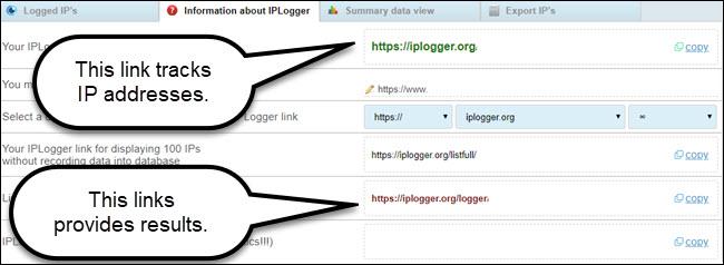Site de liens généré par un enregistreur IP, avec légende des liens de suivi et d'affichage