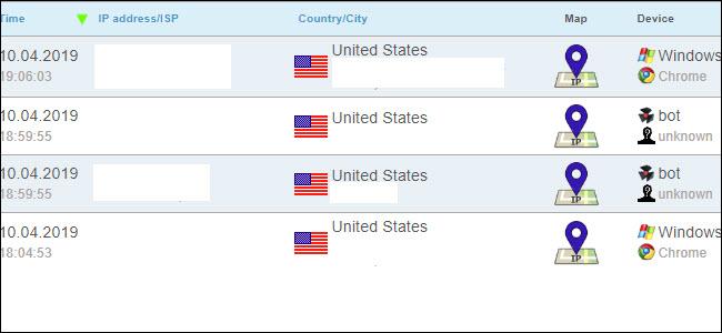 résultats de suivi de l'enregistreur ip, montrant plusieurs pings des États-Unis.