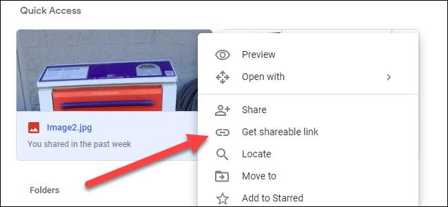 Sous-menu Google Drive affichant l'option Obtenir un lien partageable.