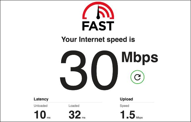 Les résultats d'un test de vitesse Internet sur Fast.com.
