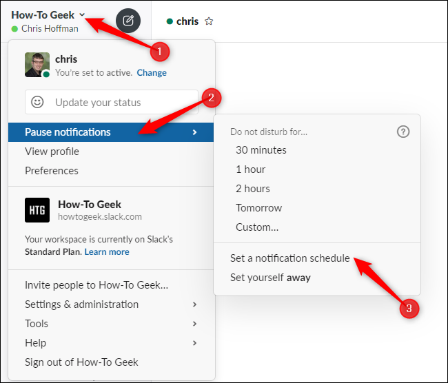 Accéder aux options de planification des notifications à partir du menu de Slack.