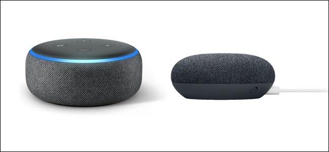 Un Echo de 3e génération avec anneau lumineux bleu, à côté d'un Google Nest Mini avec cordon d'alimentation blanc.