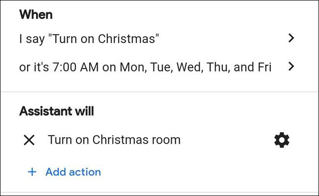 Routine des lumières de Noël dans l'Assistant Google.