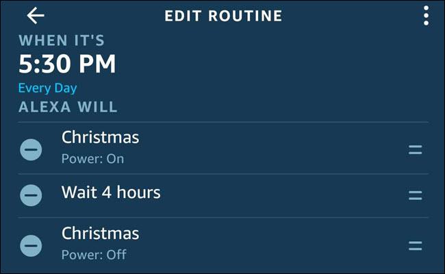 Le dialogue de routine Alexa avec un Noël allumé, attendez 4 heures, séquence de Noël.