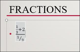 fraction insérée qui a été dessinée