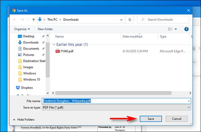 Cliquez sur Enregistrer dans la boîte de dialogue d'enregistrement de fichier dans Google Chrome
