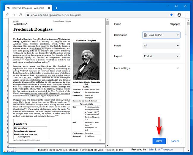 Cliquez sur Enregistrer dans Google Chrome
