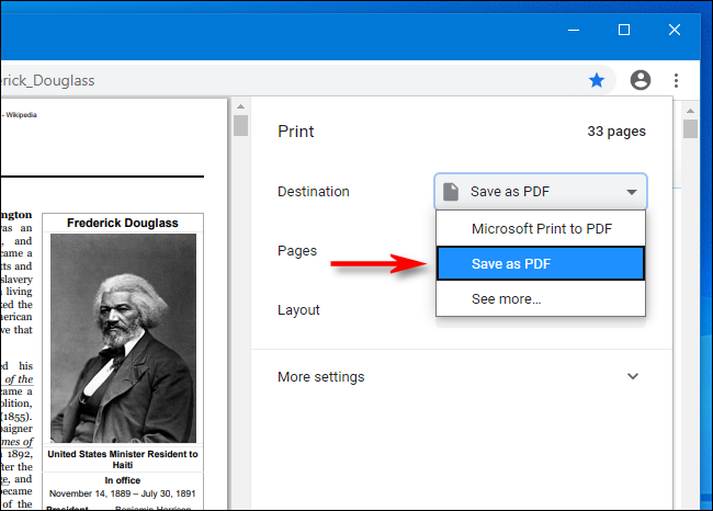 Sélectionnez Enregistrer au format PDF dans le menu déroulant de Google Chrome