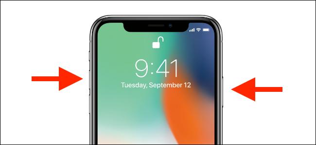 Appuyez et maintenez les boutons d'augmentation du volume et latéraux sur l'iPhone.