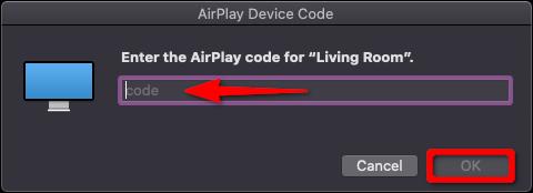 Code de l'appareil Apple TV AirPlay Mac