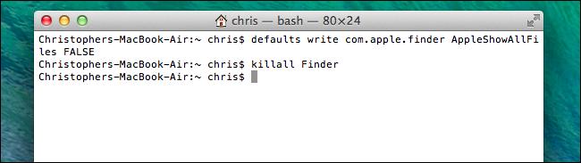 désactiver-afficher-les-fichiers-et-dossiers-cachés dans le Finder