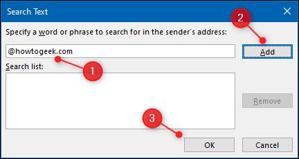 """Tapez le domaine, cliquez sur """"Ajouter,"""" puis cliquez sur """"D'ACCORD."""""""