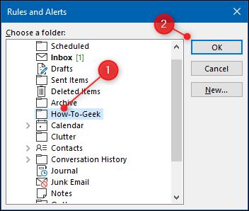 """Sélectionnez le dossier dans lequel vous souhaitez déplacer les e-mails, puis cliquez sur """"D'ACCORD."""""""