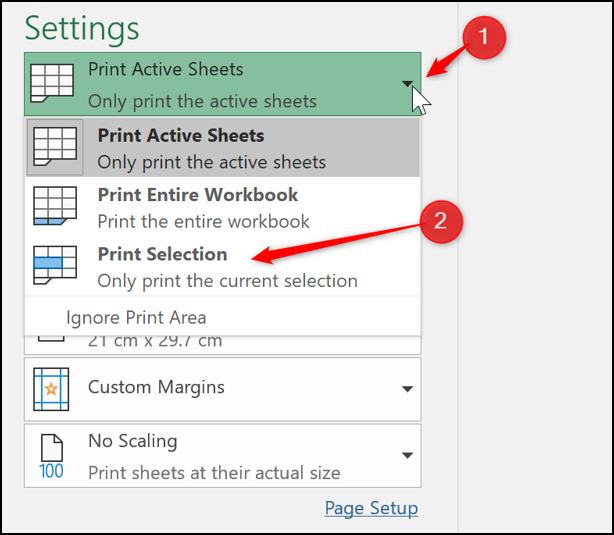 Imprimer la sélection sur une feuille de calcul