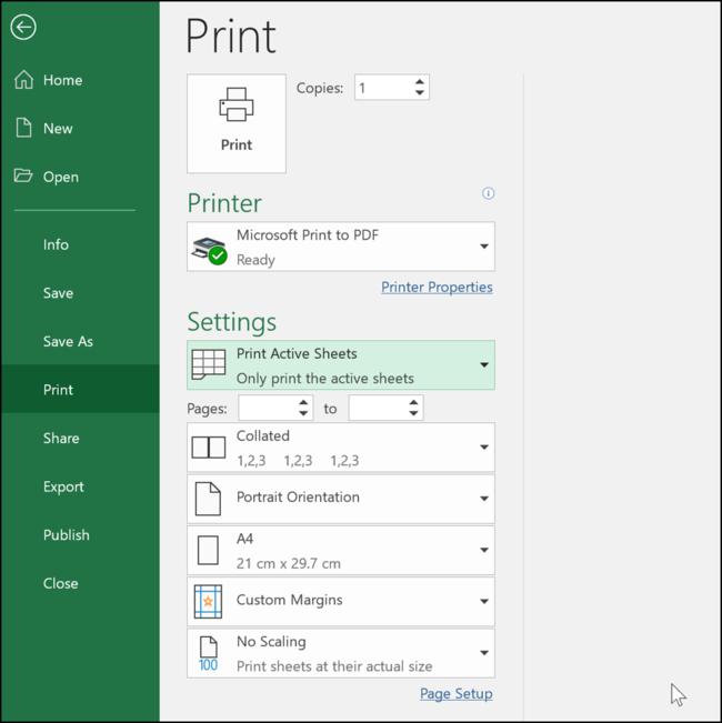 Paramètres d'impression dans Excel