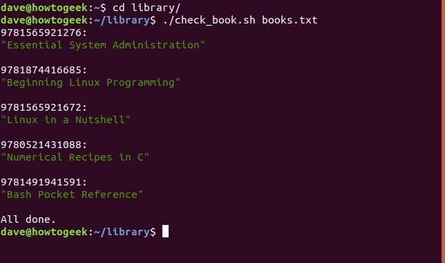 Sortie du script shell check_book.sh