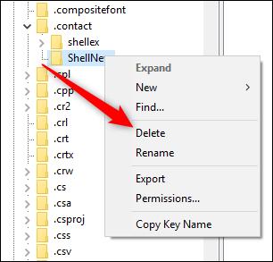 Le menu contextuel avec la commande Supprimer en surbrillance.