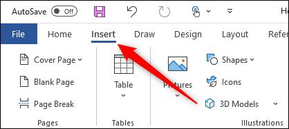 Insérer l'onglet de Microsoft Word