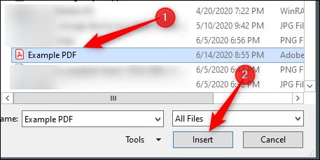 Sélectionnez et insérez un fichier pdf