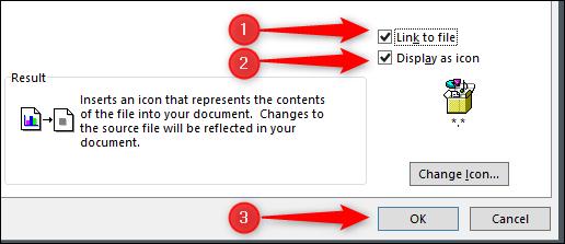 lien vers le fichier, afficher l'icône et insérer des options pdf
