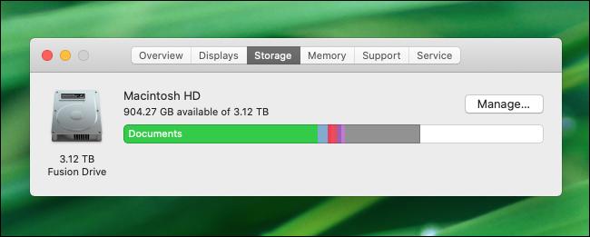 Vérification de l'espace disque libre dans macOS Catalina