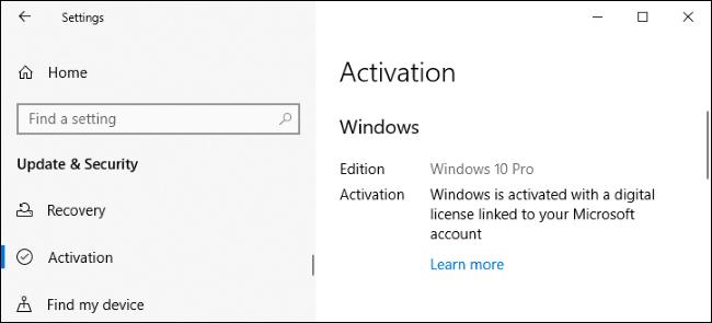 Windows 10 activé avec une licence numérique liée à un compte Microsoft.