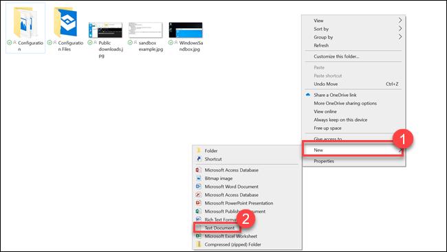 Sous-menu Explorateur de fichiers avec des flèches pointant vers Nouveau et Document texte