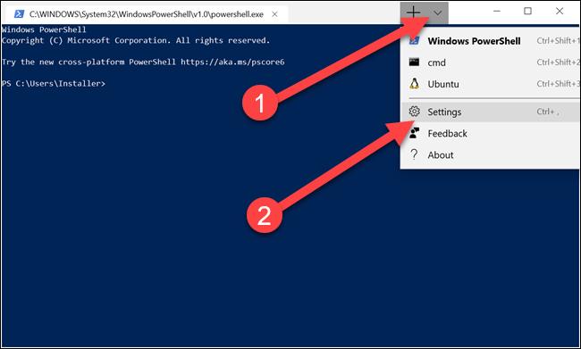 Terminal Windows avec des flèches pointant vers la flèche vers le bas et les options de paramètres.
