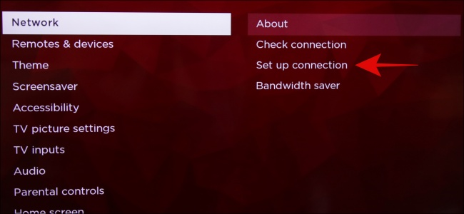 Configuration de la connexion au réseau Roku