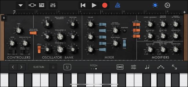 Utilisation de Moog Classic Audio Unit dans GarageBand