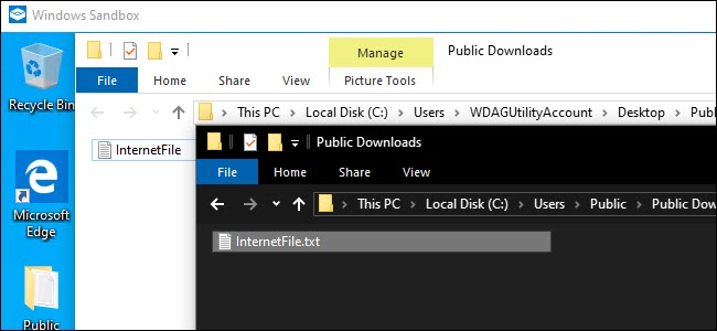 Windows Sandbox Explorer et Explorateur du système hôte affichant un fichier partagé