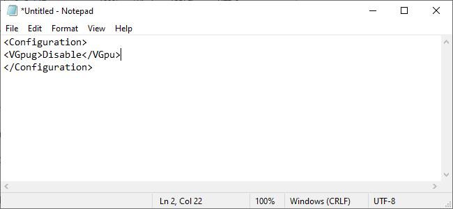 ajout d'une commande pour désactiver le GPU virtuel