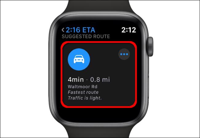 L'application Maps sur Apple Watch affiche un itinéraire suggéré