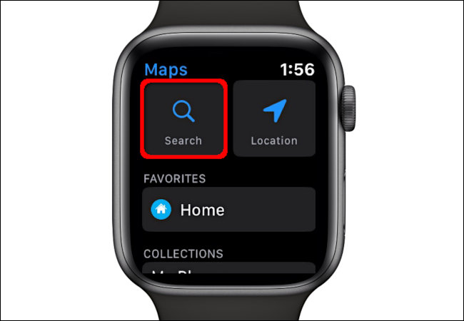 Utilisation de la fonction de recherche dans l'application Maps sur Apple Watch