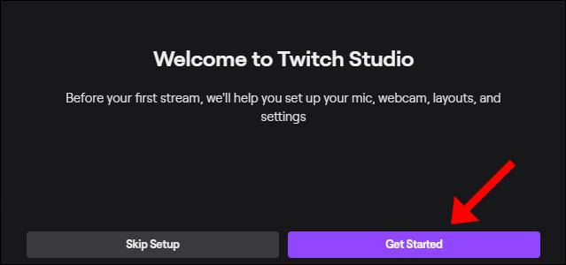 """Cliquez sur """"Commencer"""" pour suivre le processus de configuration de Twitch Studio."""