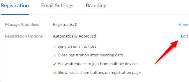 Bouton Modifier dans les options d'enregistrement