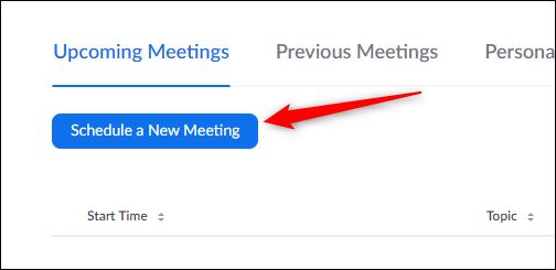 Programmer une nouvelle réunion bouton
