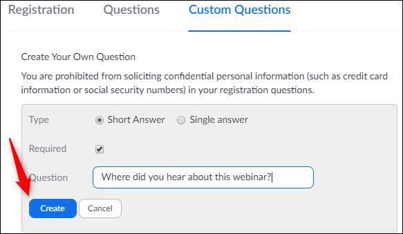 Créez votre propre question personnalisée