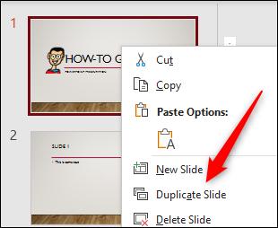 Option de duplication de diapositive