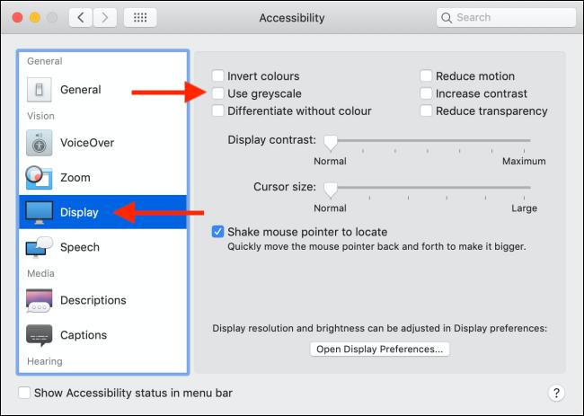 """Cliquez sur """"Afficher"""" et """"Accessibilité,"""" puis cochez la case en regard de """"Utiliser les niveaux de gris"""" option pour l'activer."""