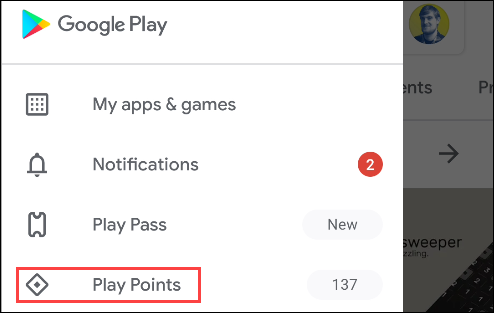 points google play dans le menu