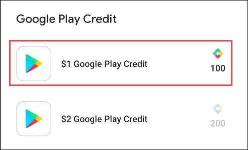 points google play pour crédit